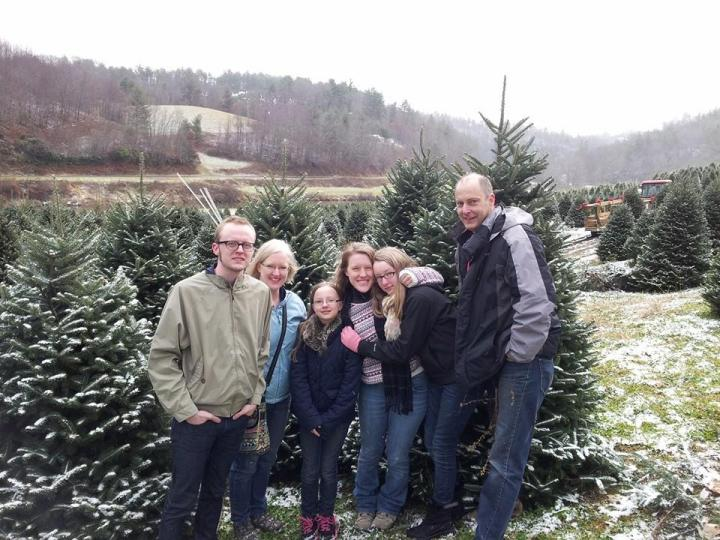 my family picking out a tree